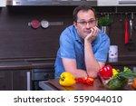 portrait of adult sad man... | Shutterstock . vector #559044010