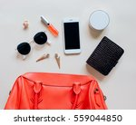 flat lay of red leather woman... | Shutterstock . vector #559044850