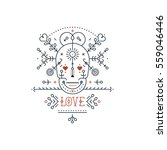 vintage love elements with line ... | Shutterstock .eps vector #559046446