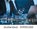 double exposure of businessman  ... | Shutterstock . vector #559051300