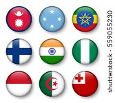 set of world flags round badges ... | Shutterstock .eps vector #559055230
