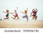 four best friends having fun on ... | Shutterstock . vector #559056730