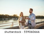 casual meeting outside.  | Shutterstock . vector #559060666