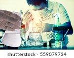 double exposure of conical... | Shutterstock . vector #559079734