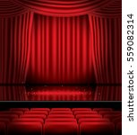 open red curtains with seats... | Shutterstock .eps vector #559082314
