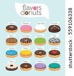 vector flavors of donuts   Shutterstock .eps vector #559106338