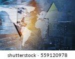 double exposure global map on...   Shutterstock . vector #559120978