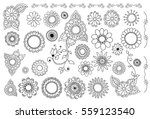 big set of hand drawn flowers ... | Shutterstock .eps vector #559123540