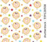 donut  vector seamless pattern... | Shutterstock .eps vector #559128508