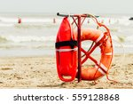 ring buoy and can of lifeguard... | Shutterstock . vector #559128868