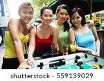 young women posing next to...   Shutterstock . vector #559139029