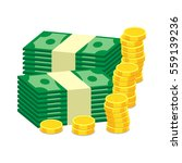 stacks of gold coins and dollar ... | Shutterstock .eps vector #559139236