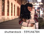young couple in love  hugging... | Shutterstock . vector #559146784