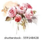Watercolor Rose Bouquet In A...
