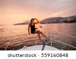 Woman Travel On Yacht At...