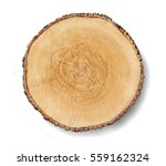Small photo of Aged cracked wooden tree section with rings and texture isolated on white. Circular background with an organic feel.