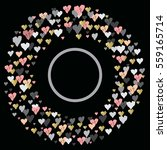dark circle frame with hearts...   Shutterstock . vector #559165714