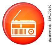 retro radio icon in red circle... | Shutterstock . vector #559170190