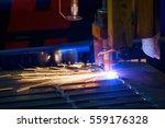metal sparks. industrial laser... | Shutterstock . vector #559176328