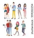 set young people  guys and... | Shutterstock .eps vector #559202254