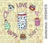 cake   jam  tea vector | Shutterstock .eps vector #559204570