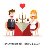 flat couple very happy having... | Shutterstock .eps vector #559211134