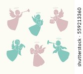 angels with simple wings and... | Shutterstock .eps vector #559213360