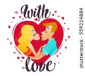 vector flat loving couple...   Shutterstock .eps vector #559214884