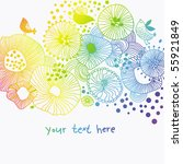 Rainbow Colored Vector Floral...