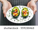 salad with fresh vegetables ... | Shutterstock . vector #559230463