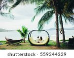 honeymoon couple relax on beach.... | Shutterstock . vector #559244329