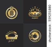 organic food gold logo vintage... | Shutterstock .eps vector #559251880