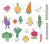 cute cartoon live vegetables... | Shutterstock .eps vector #559253104