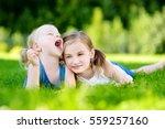 two cute little sisters having... | Shutterstock . vector #559257160