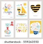 valentine's day greeting cards... | Shutterstock .eps vector #559263550