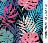 summer exotic floral tropical... | Shutterstock .eps vector #559265410