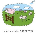 sheep jump over the fence on... | Shutterstock .eps vector #559272394