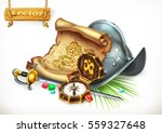 old treasure map and... | Shutterstock .eps vector #559327648