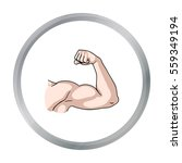 biceps icon in cartoon style... | Shutterstock .eps vector #559349194