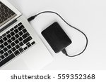 Small photo of External hard drive connect to laptop computer