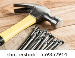 home repair concept with hammer ... | Shutterstock . vector #559352914