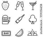 casino icon set design with