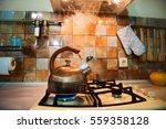 modern  trendy  bronze kettle... | Shutterstock . vector #559358128