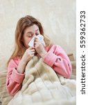 young woman with flu and... | Shutterstock . vector #559362733