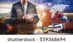 businessman is pressing button...   Shutterstock . vector #559368694