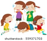 five kids crying with tears...   Shutterstock .eps vector #559371703
