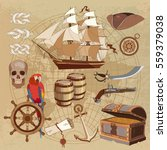 old pirate treasure map.... | Shutterstock .eps vector #559379038