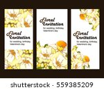 invitation with floral... | Shutterstock .eps vector #559385209