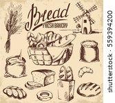 Bread Set. Pen Sketch Converted ...