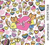 cats love seamless pattern | Shutterstock .eps vector #559397068
